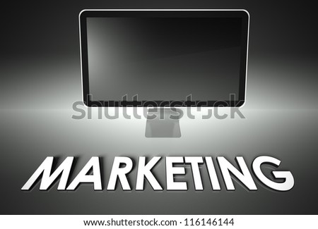 Computer blank screen with word Marketing, copyspace - stock photo