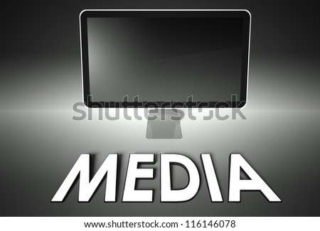 Computer blank screen with word Media, copyspace - stock photo