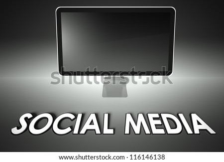 Computer blank screen with word Social media, copyspace - stock photo