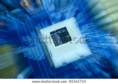 Computer board with empty cpu socket. - stock photo