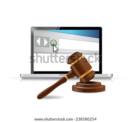 computer browser and law hammer. illustration design over a white background - stock photo