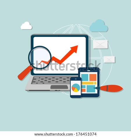 Computer busness icon  illustration - stock photo