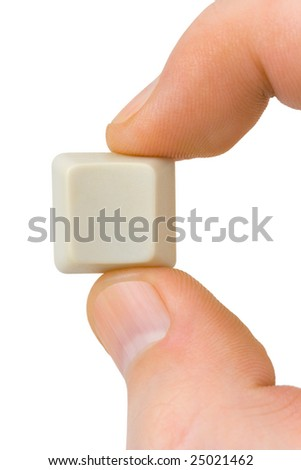 Computer button in hand isolated on white background