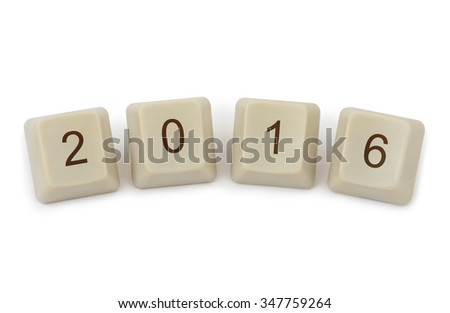 Computer buttons 2016 iisolated on white background - stock photo