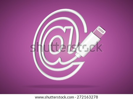 Computer cable bends to make the shape of a email �at� icon - stock photo