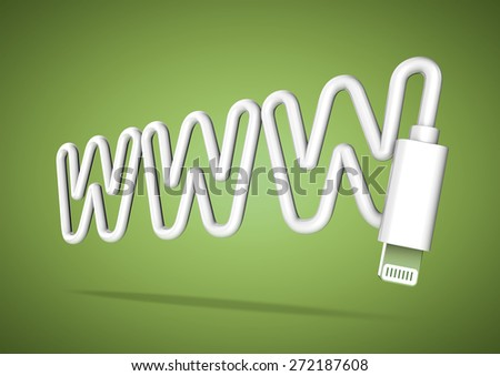 Computer cable bends to make the shape of a www world wide web letters - stock photo