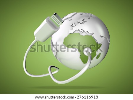 Computer cable connects to illustration of planet earth. Concept for how our world is connected by the internet and social media. - stock photo