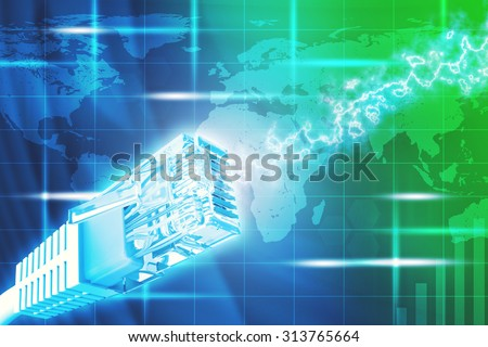 Computer cable on abstract colorful background with world map, close up view
