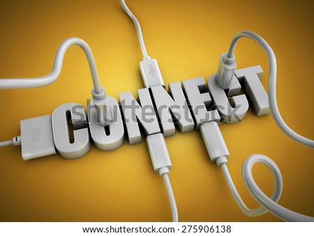 Computer cables and plugs attach to 3d text title Connect. Concept for connecting people and things via the internet and social media. - stock photo