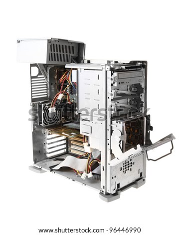 Computer case interior with hard drive - stock photo