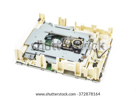 Computer cd-rom drive disassembled, white isolated 01 - stock photo