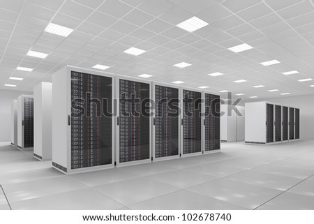 Computer Center with bunch of server racks - stock photo