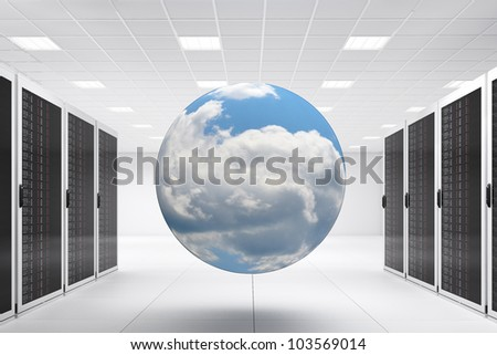 Computer Center with bunch of server racks and cloud - stock photo
