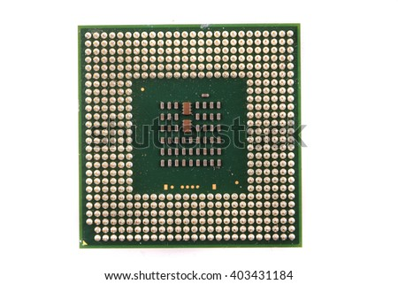computer chip isolated on the white background - stock photo
