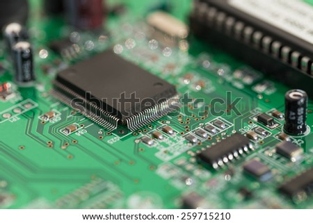 Computer chip. Microcircuit from a modem to connect to the Internet. Background. - stock photo