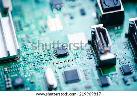 Computer Circuit Board close up.