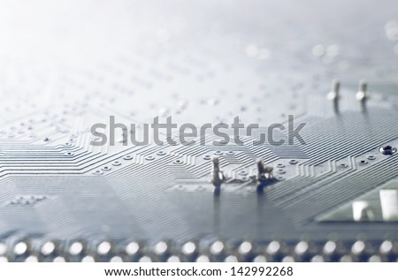 Computer circuit board high magnification photo - stock photo