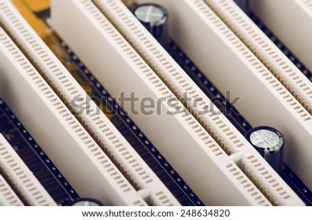 Computer Circuit Board Memory Slots - stock photo