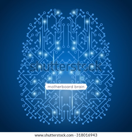 Computer circuit motherboard in brain shape technology and artificial intelligence concept  illustration