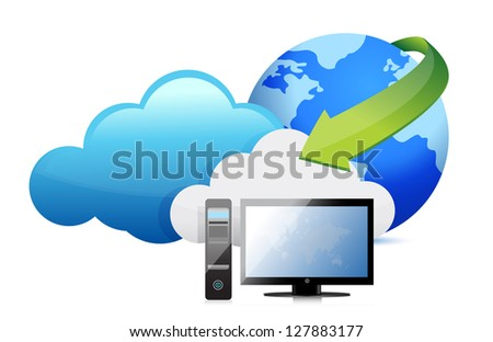 computer cloud computing moving concept illustration design