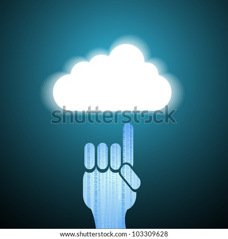 computer cloud with hand on blue - stock photo