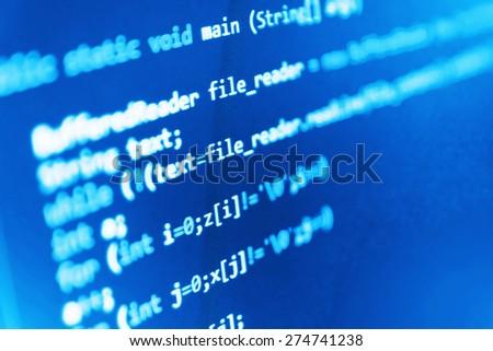 Computer code program. Software developer screen background- source code script. (MORE SIMILAR IN MY GALLERY) - stock photo