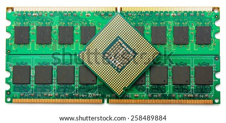 Computer component random access memory (RAM) and and CPU (processor) isolated om white - stock photo