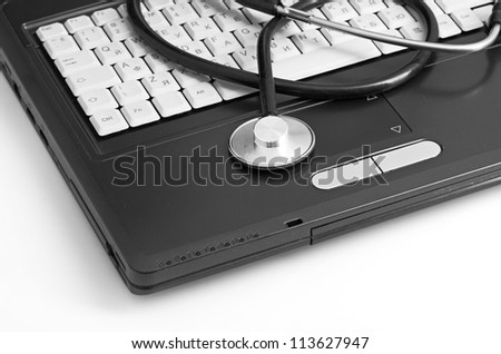 computer concept with stethoscope on a  laptop,