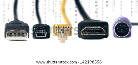 Computer connectivity cables with binary numbers and space for text isolated on white - stock photo
