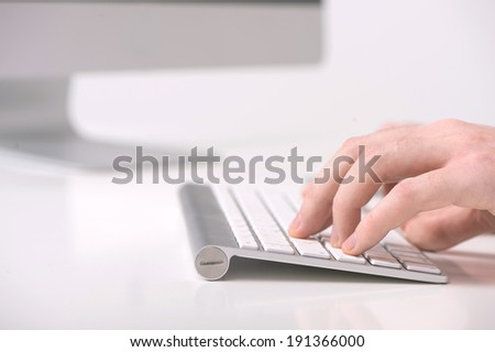 Computer course. Focus on human hands and computer keyboards. - stock photo