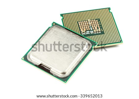 Computer CPU chip close up white background