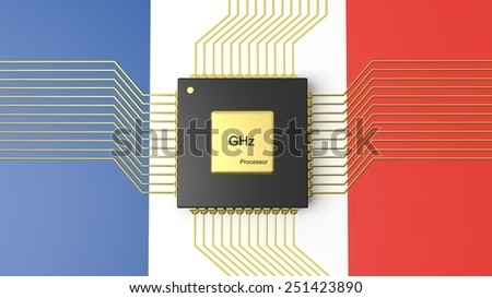 Computer CPU with flag of France background - stock photo