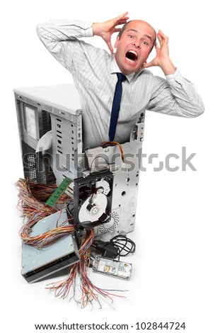 Computer crash and frustrated businessman. Information security concept. - stock photo