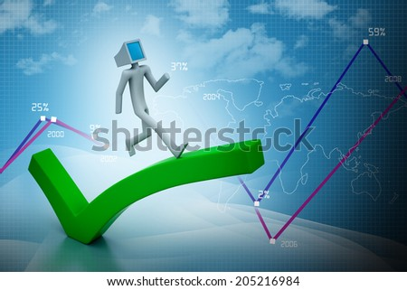 Computer 3d man running on a right mark - stock photo