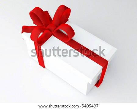 computer 3d Rendered image of single long present with big red velvet bow