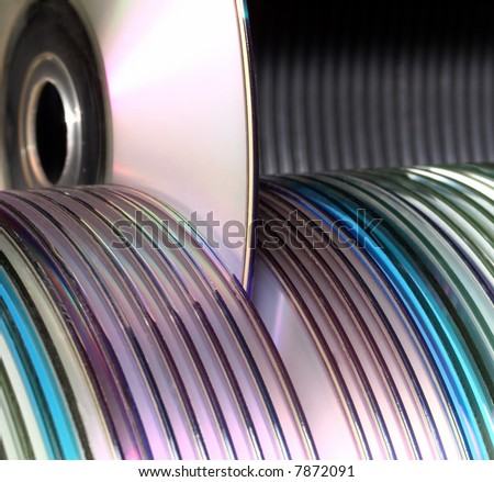 computer data discs library - stock photo