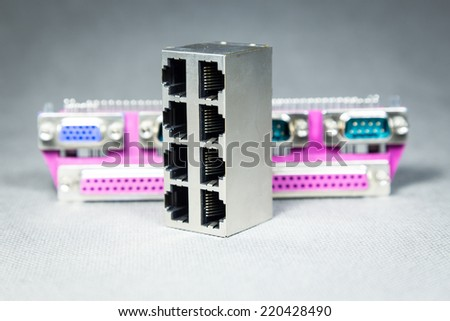 Computer data transmission sockets an plugs - stock photo