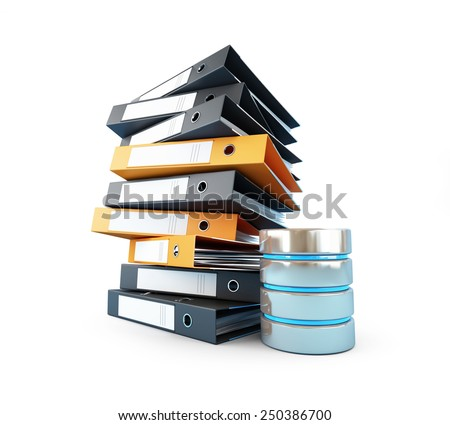 computer database will replace the classic folders - stock photo