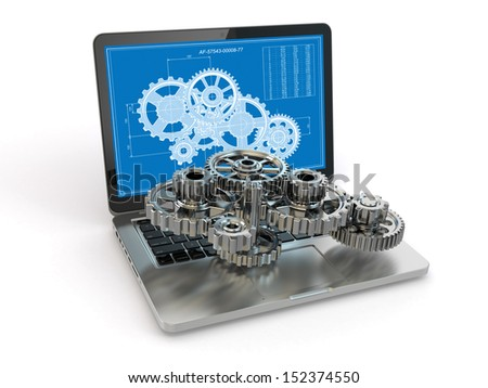 Computer-design engineering. Laptop,  gear  and draft. 3d - stock photo