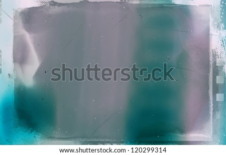 Computer designed high resolution grunge cross-process film frame with space for your text or image. - stock photo