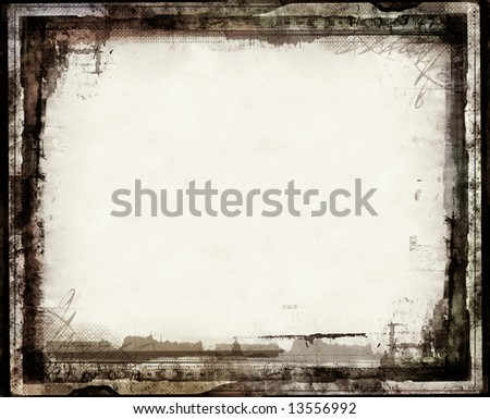 Computer designed highly detailed grunge border with space for your text or image. Great grunge layer for your projects. - stock photo