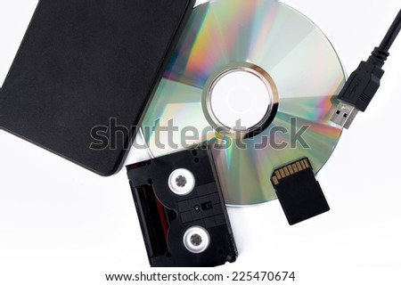 computer disk  and external drives - stock photo