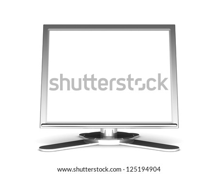 Computer display, 3d computer monitor with a blank screen isolated on white background