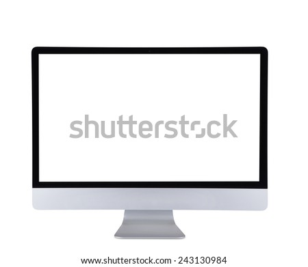 Computer display isolated on white background. - stock photo