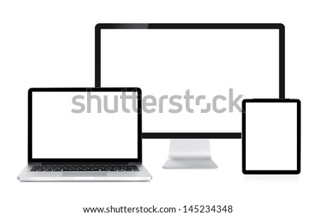 Computer display, laptop and tablet. Front view. Isolated on white background - stock photo