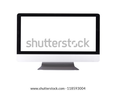 computer display  with empty screen isolated on white background