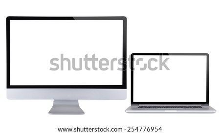 Computer display with laptop isolated on white background. - stock photo