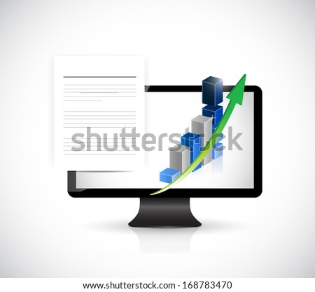 computer documents and business graphs. illustration over a white background - stock photo