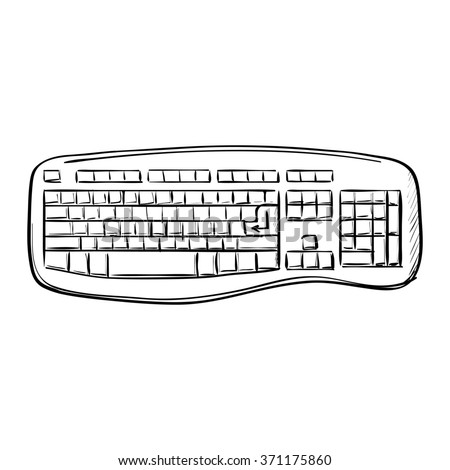 Computer doodle keyboard on a white background - stock photo