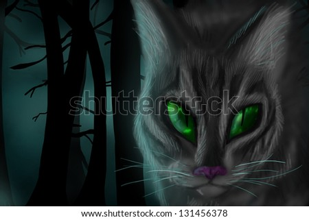 Computer drawing of cat face with dark woods and fog in background